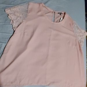 3XL Dusty Rose Sheer/lace Blouse